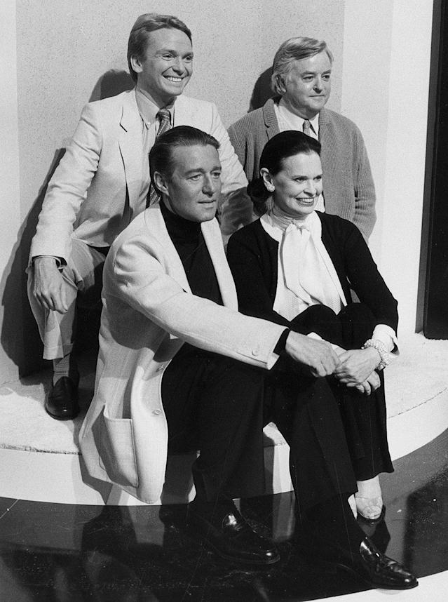 9f60dc1896 Surrounded by fellow fashion titans, Bob Mackie, Geoffrey Beene and Halston  on an episode