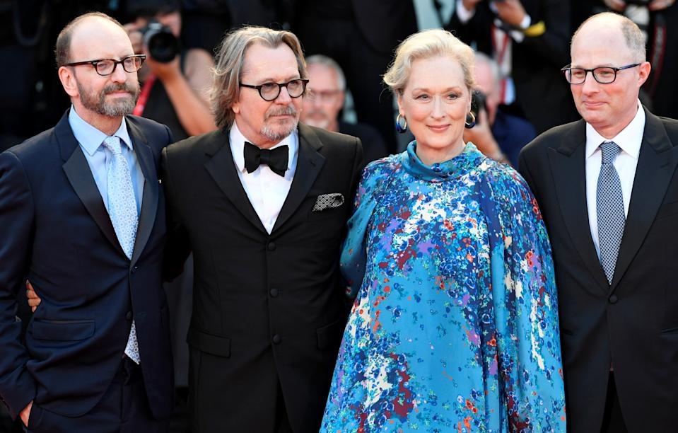 "The 76th Venice Film Festival - Screening of the film ""The Laundromat"" in competition - Red Carpet Arrivals - Venice, Italy, September 1, 2019 - Director Steven Soderbergh poses with author Jake Bernstein and cast members Meryl Streep and Gary Oldman. REUTERS/Piroschka van de Wouw"