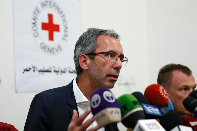 Dominik Stillhart, ICRC director of operations, tells a news conference in Sanaa that hospitals are struggling with an influx of patients from a cholera outbreak (AFP Photo/MOHAMMED HUWAIS)