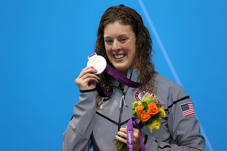 """Silver medalist <a href=""""http://sports.yahoo.com/olympics/swimming/allison-schmitt-1133648/"""" data-ylk=""""slk:Allison Schmitt"""" class=""""link rapid-noclick-resp"""">Allison Schmitt</a> of the United States poses on the podium during the medal ceremony following the Women's 400m Freestyle final on Day 2 of the London 2012 Olympic Games at the Aquatics Centre on July 29, 2012 in London, England. (Photo by Clive Rose/Getty Images)"""