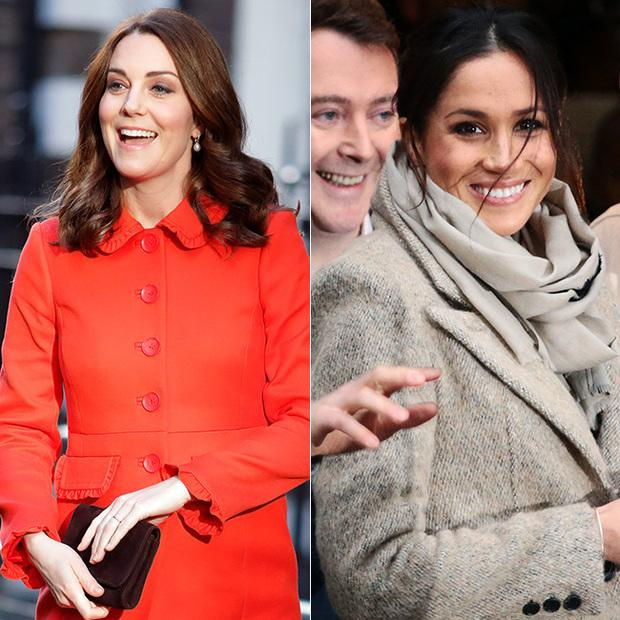 A split image between how Kate Middleton and Meghan Markle react to photographers while being captured