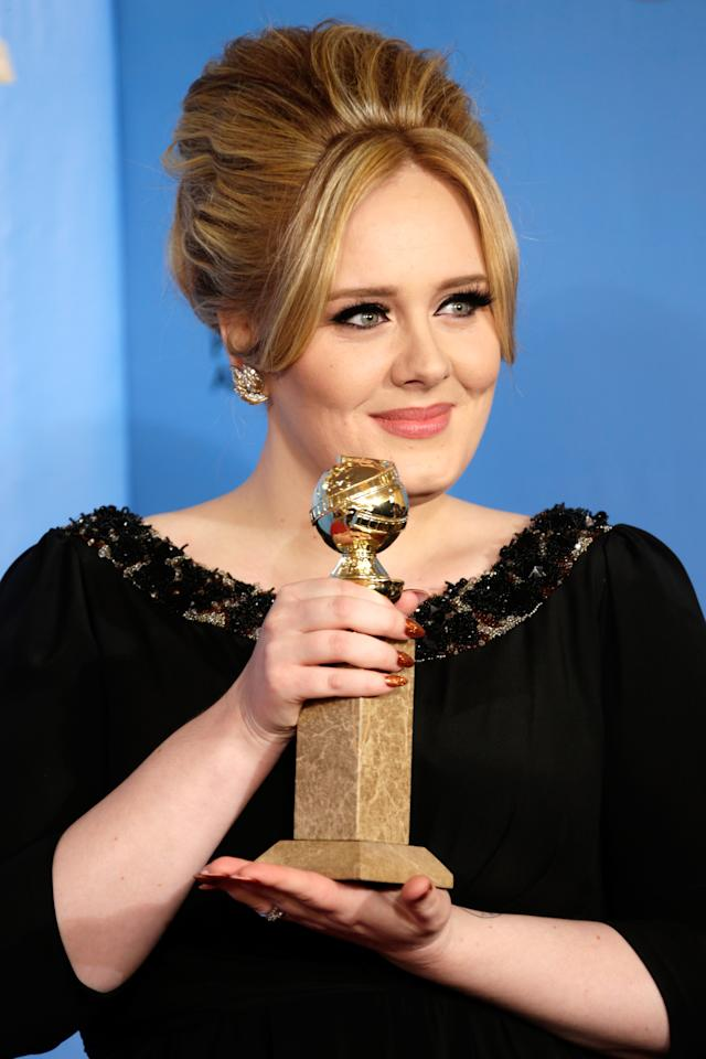 Singer Adele poses in the press room at the 70th Annual Golden Globe Awards held at The Beverly Hilton Hotel on January 13, 2013 in Beverly Hills, California.