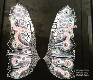 The 15-foot wings were created by world-renowned muralist Kelsey Montague for Decatur, Ala.'s Chasing Art Project.