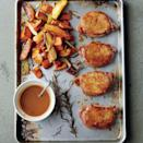 """Pan juices turn into a sweet and savory sauce in this comforting fall dinner. <a href=""""https://www.epicurious.com/recipes/food/views/cider-dijon-pork-chops-with-roasted-sweet-potatoes-and-apples-51163600?mbid=synd_yahoo_rss"""" rel=""""nofollow noopener"""" target=""""_blank"""" data-ylk=""""slk:See recipe."""" class=""""link rapid-noclick-resp"""">See recipe.</a>"""