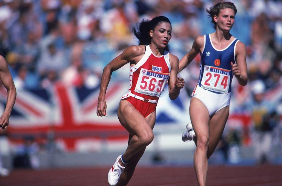 <p>Florence Griffith Joyner, or 'Flo-Jo,' was an American sprinter who set the world record for the 100 meter and 200 meter sprints at the 1984 Los Angeles Olympics—and her times have not been beaten since. </p>