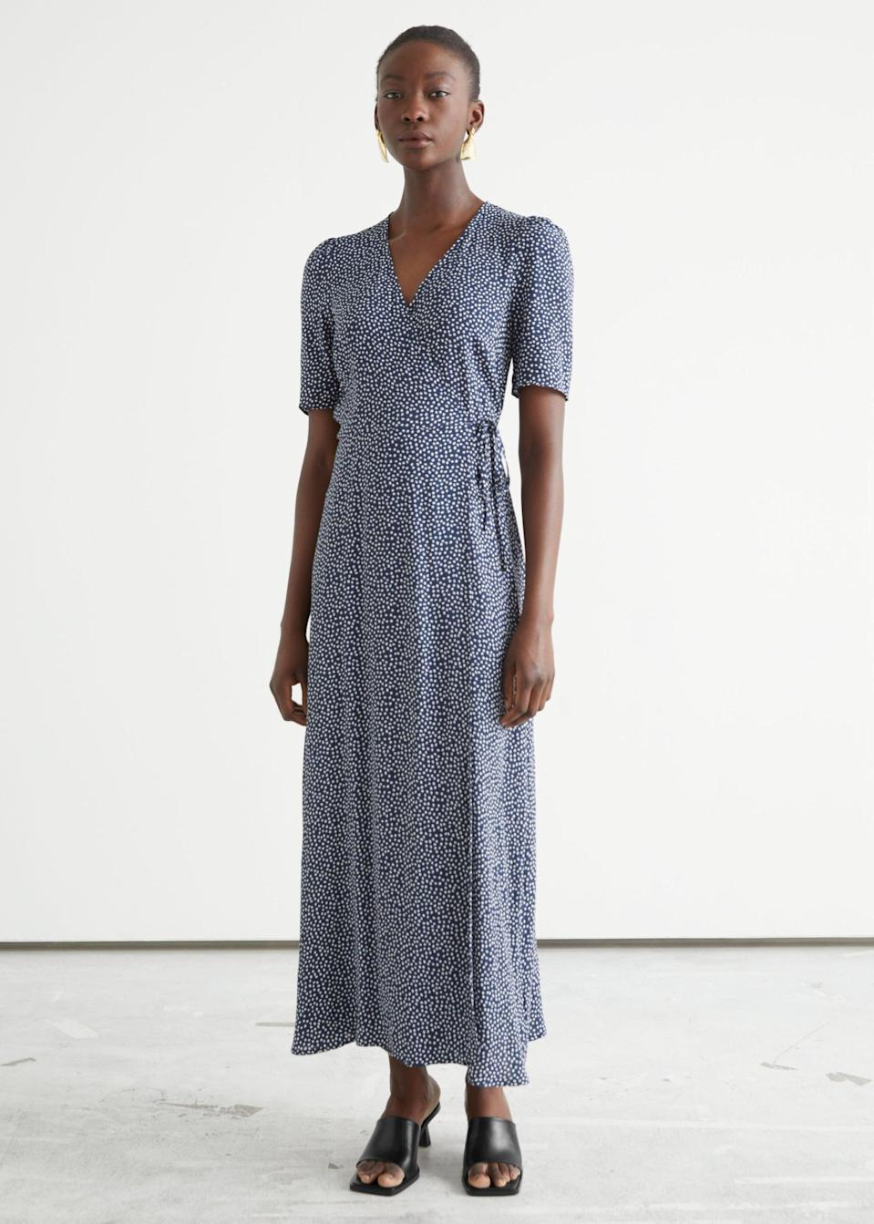 <p>Style this <span>&amp; Other Stories Printed Midi Wrap Dress</span> ($99) with some sleek mules for a stylish and intentional look.</p>