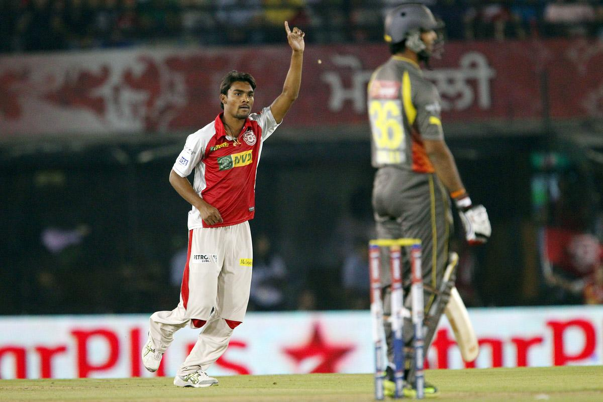 Sandeep Sharma celebrates the wicket of Hanuma Vihari during match 59 of of the Pepsi Indian Premier League between The Kings XI Punjab and the Sunrisers Hyderabad held at the PCA Stadium, Mohali, India on the 11th May 2013. (BCCI)