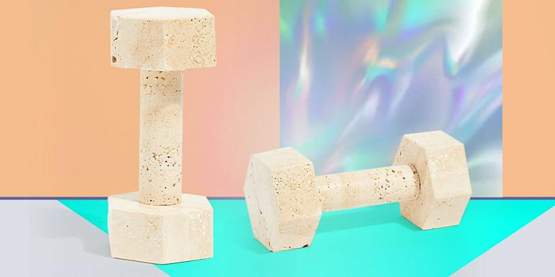 A literal paperweight, this two-pound travertine dumbbell could actually be used for at-home toning, but we love it just as a cheeky sculpture in a pretty stone. SHOP NOW: Travertine marble dumbbell by Page Thirty Three, $100, freepeople.com