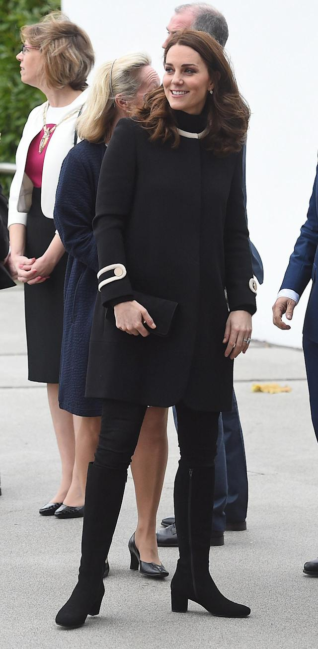 The Duchess recycled a Goat coat for the occasion. (Photo: PA)