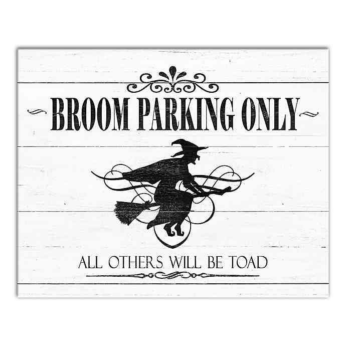 """<p>Before guests get too comfortable, let them know what they're getting into with the <a href=""""https://www.popsugar.com/buy/Designs-Direct-Broom-Parking-Only-Canvas-Wall-Art-477544?p_name=Designs%20Direct%20Broom%20Parking%20Only%20Canvas%20Wall%20Art&retailer=bedbathandbeyond.com&pid=477544&price=41&evar1=casa%3Aus&evar9=46477304&evar98=https%3A%2F%2Fwww.popsugar.com%2Fphoto-gallery%2F46477304%2Fimage%2F46477369%2FDesigns-Direct-Broom-Parking-Only-Canvas-Wall-Art&list1=shopping%2Challoween%2Cbed%20bath%20%26%20beyond%2Challoween%20decor%2Chome%20shopping&prop13=api&pdata=1"""" rel=""""nofollow"""" data-shoppable-link=""""1"""" target=""""_blank"""" class=""""ga-track"""" data-ga-category=""""Related"""" data-ga-label=""""https://www.bedbathandbeyond.com/store/product/designs-direct-broom-parking-only-2-inch-x-16-inch-canvas-wall-art/5234940?keyword=halloween-decorations"""" data-ga-action=""""In-Line Links"""">Designs Direct Broom Parking Only Canvas Wall Art</a> ($41).</p>"""