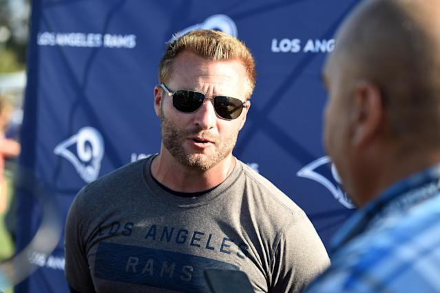 Rams coach Sean McVay isn't hiding from his failures vs. Bill Belichick and the Patriots in the Super Bowl. (Getty)