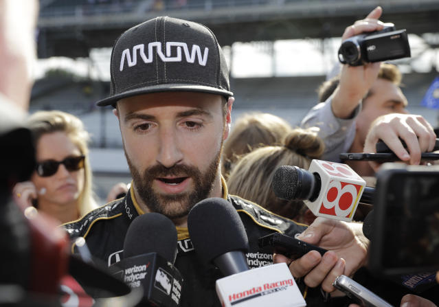 FILE- In this May 19, 2018 file photo, James Hinchcliffe, of Canada, talks with the media after he did not qualify for the IndyCar Indianapolis 500 auto race at Indianapolis Motor Speedway in Indianapolis. (AP Photo/Darron Cummings, File)