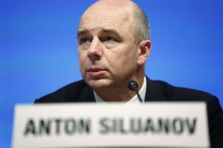 Russia's Finance Minister Siluanov holds a news briefing after a G20 meeting at the start of the annual IMF-World Bank fall meetings in Washington