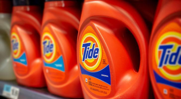 A photo of bottles of Tide detergent from Procter & Gamble (PG) on a store shelf.