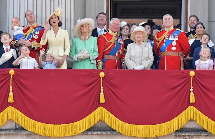 Image: Members of the Royal Family on the balcony of Buckingham Palace to watch a fly-past of aircraft by the Royal Air Force, in London (Daniel Leal-Olivas / AFP - Getty Images file)