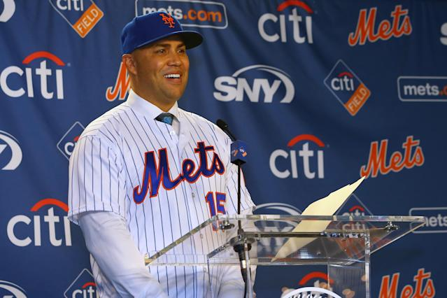 """Named in Major League Baseball's report on the 2017 <a class=""""link rapid-noclick-resp"""" href=""""/mlb/teams/houston/"""" data-ylk=""""slk:Astros"""">Astros</a>' sign-stealing scandal, Carlos Beltran's future with <a class=""""link rapid-noclick-resp"""" href=""""/mlb/teams/ny-mets/"""" data-ylk=""""slk:the Mets"""">the Mets</a> is unclear just months after he was introduced as manager. (Photo by Rich Schultz/Getty Images)"""