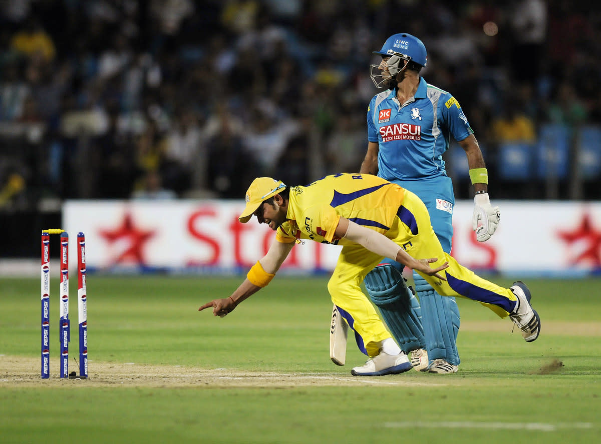 Suresh Raina of Chennai Super Kings runs to celebrate the run out of Robin Uthappa of Pune Warriors during match 42 of the Pepsi Indian Premier League ( IPL) 2013  between The Pune Warriors India and the Chennai Superkings held at the Subrata Roy Sahara Stadium, Pune on the 30th April  2013. (BCCI)