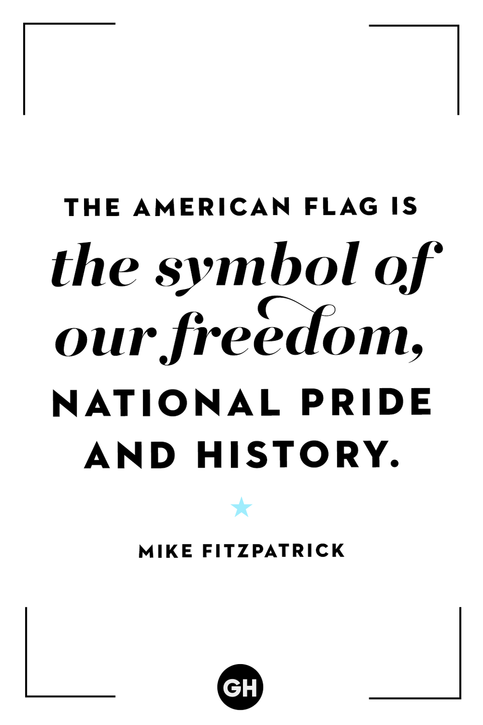 <p>The American flag is the symbol of our freedom, national pride and history.</p>