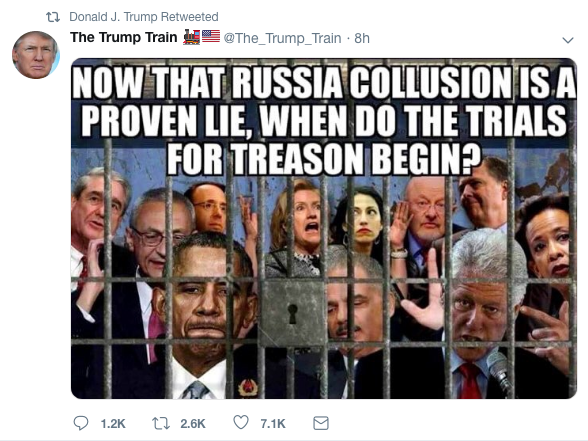 A retweet from President Trump's account on Wednesday.