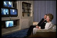<p>In the 1984 Presidential election, Ronald Reagan faced off against Democrat Walter Mondale. The Reagans watched election returns come in on four different networks at the White House. </p>