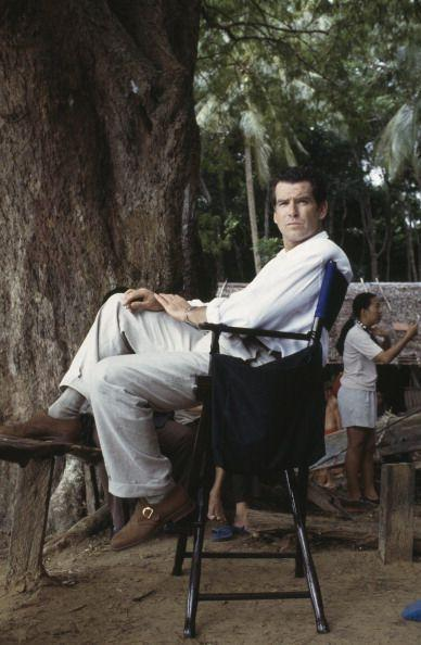 <p>Pierce Brosnan on location in Thailand for the James Bond film 'Tomorrow Never Dies', 1997. </p>