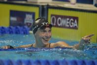 Katie Ledecky reacts after the women's 800 freestyle during wave 2 of the U.S. Olympic Swim Trials on Saturday, June 19, 2021, in Omaha, Neb. (AP Photo/Charlie Neibergall)