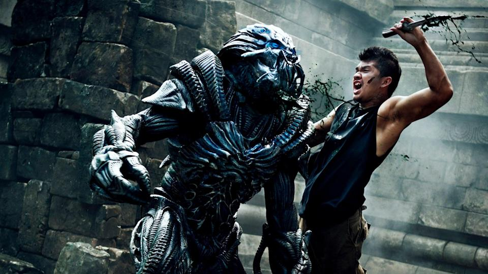 """<p>This sequel to 2010's <strong>Skyline</strong> immediately follows the events of the original, revolving around Detective Mark Corley as he attempts to rescue his estranged son from an alien spaceship. When the ship crashes in Southeast Asia, Mark must then befriend his fellow survivors in order to take back the planet from its extraterrestrial invaders. </p> <p><a href=""""http://www.netflix.com/title/80189853"""" class=""""link rapid-noclick-resp"""" rel=""""nofollow noopener"""" target=""""_blank"""" data-ylk=""""slk:Watch Beyond Skyline on Netflix"""">Watch <strong>Beyond Skyline</strong> on Netflix</a>. </p>"""