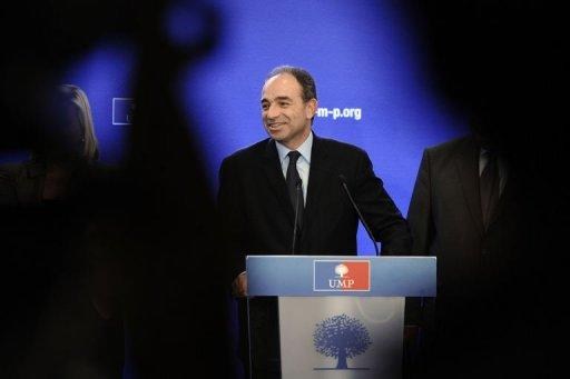 France's opposition UMP declared leader Jean-Francois Cope speaks at the party's headquarters on December 12, 2012
