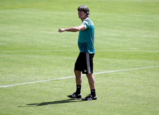 Soccer Football - FIFA World Cup - Germany Training - Eppan, Italy - June 5, 2018 Germany coach Joachim Low during training REUTERS/Lisi Niesner