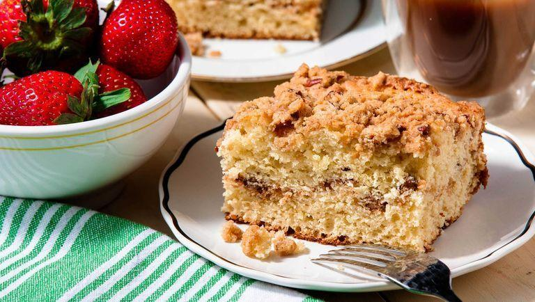 """<p>This coffee cake is bound to be the star of any afternoon tea spread. If needed, bake the night before and cover with a kitchen towel, that way it's ready to slice and serve ASAP. </p><p>Get the <a href=""""https://www.delish.com/uk/cooking/recipes/a29139335/easy-coffee-cake-recipe/"""" rel=""""nofollow noopener"""" target=""""_blank"""" data-ylk=""""slk:Classic Coffee Cake"""" class=""""link rapid-noclick-resp"""">Classic Coffee Cake</a> recipe.</p>"""