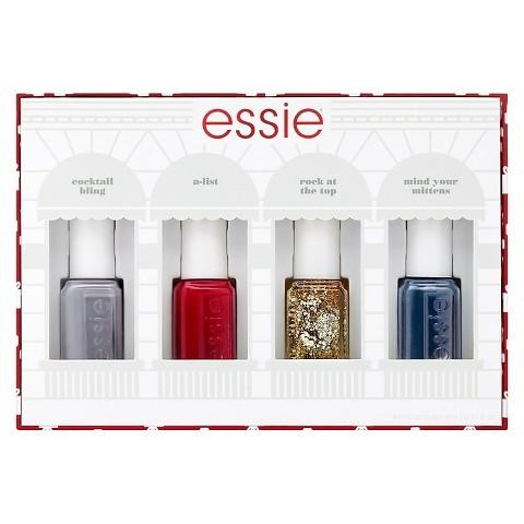 "<p>From festive gold to classic red, the gang's all here.<a href=""http://www.target.com/p/essie-holiday-mini-nail-color-kit/-/A-49109971#prodSlot=_1_46""> Essie Holiday Mini Nail Color Kit</a> ($13)</p>"