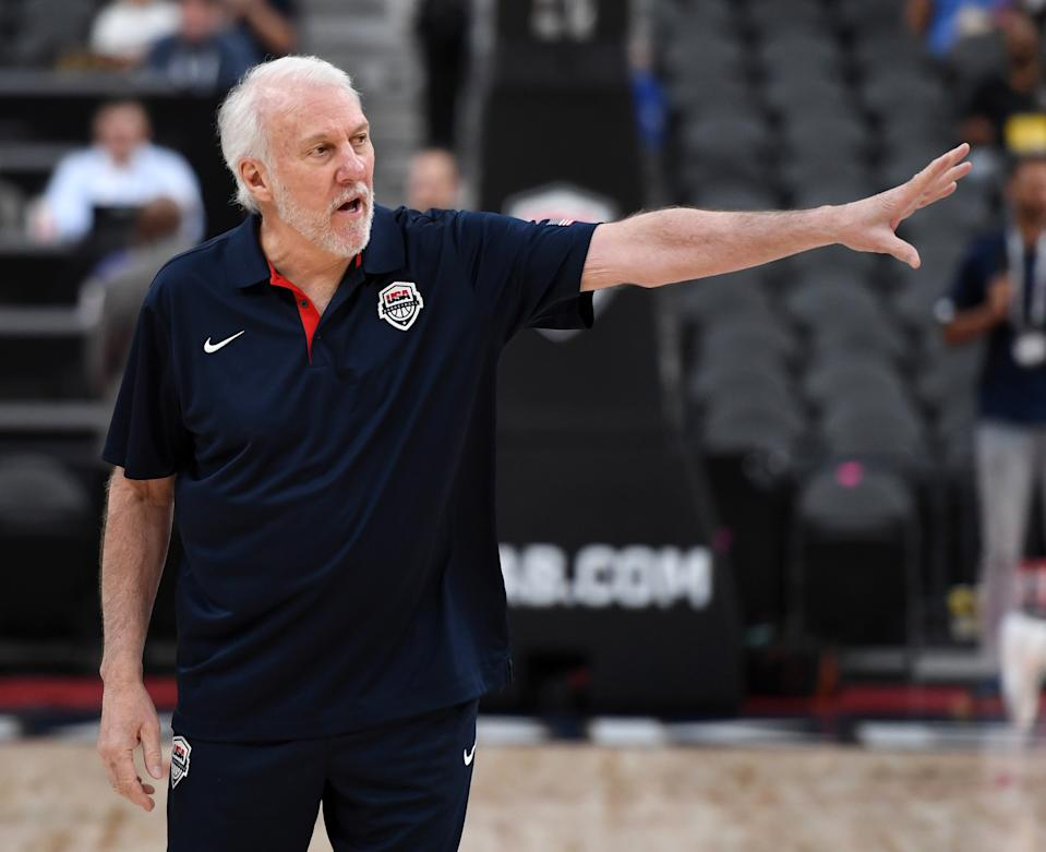 LAS VEGAS, NEVADA - AUGUST 09:  Head coach Gregg Popovich of the 2019 USA Men's National Team gestures to players on the court before the 2019 USA Basketball Men's National Team Blue-White exhibition game at T-Mobile Arena on August 9, 2019 in Las Vegas, Nevada.  (Photo by Ethan Miller/Getty Images)