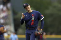 American League's Shohei Ohtani, of the Los Angeles Angels, reacts after throwing during the first inning of the 91st MLB baseball All-Star Game, Tuesday, July 13, 2021 in Denver. (AP Photo/Alex Trautwig, Pool)