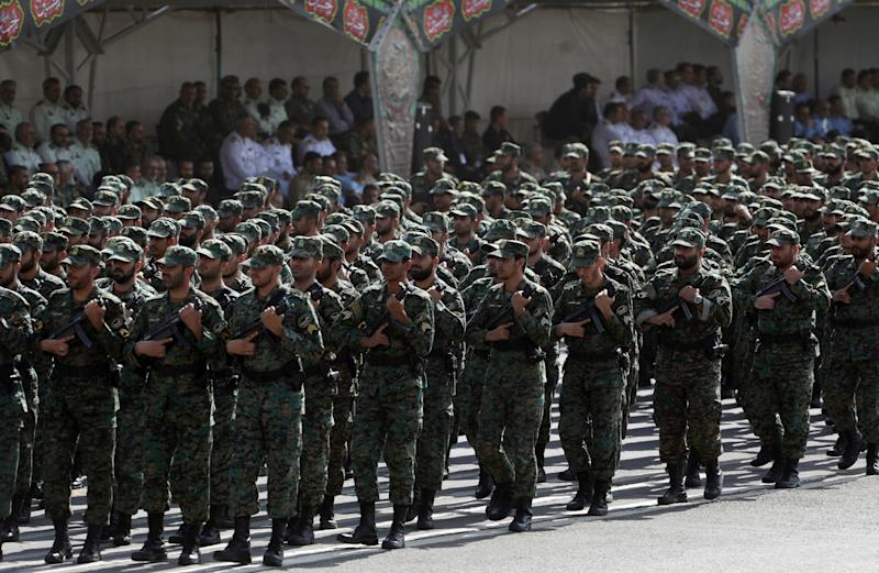Iranian armed forces members march during the ceremony of the National Army Day parade in Tehran, Iran September 22, 2019. WANA (West Asia News Agency) via REUTERS ATTENTION EDITORS - THIS IMAGE HAS BEEN SUPPLIED BY A THIRD PARTY