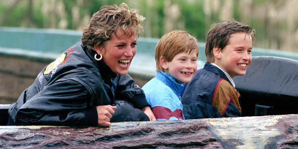 <p>Harry rides the log flume with Princess Diana and Prince William at Thorpe Park.</p>