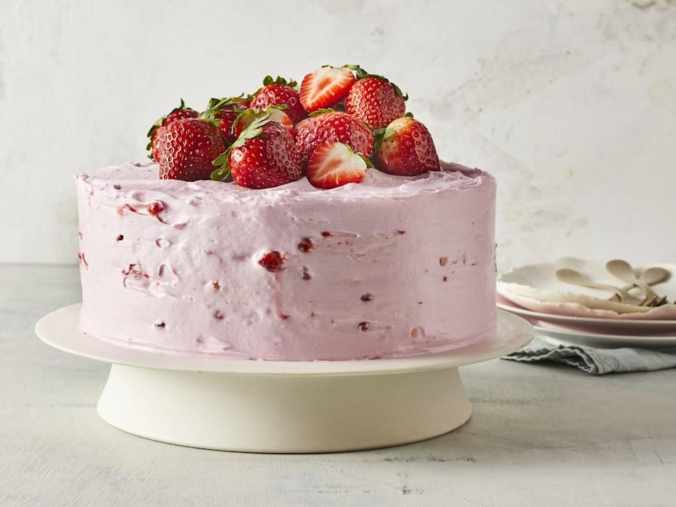 "<p><strong>Recipe: <a href=""https://www.southernliving.com/recipes/strawberry-lemonade-cake"" rel=""nofollow noopener"" target=""_blank"" data-ylk=""slk:Strawberry-Lemonade Cake"" class=""link rapid-noclick-resp"">Strawberry-Lemonade Cake</a></strong></p> <p>What better way to toast to the springtime than with this Strawberry-Lemonade Layer Cake?</p>"