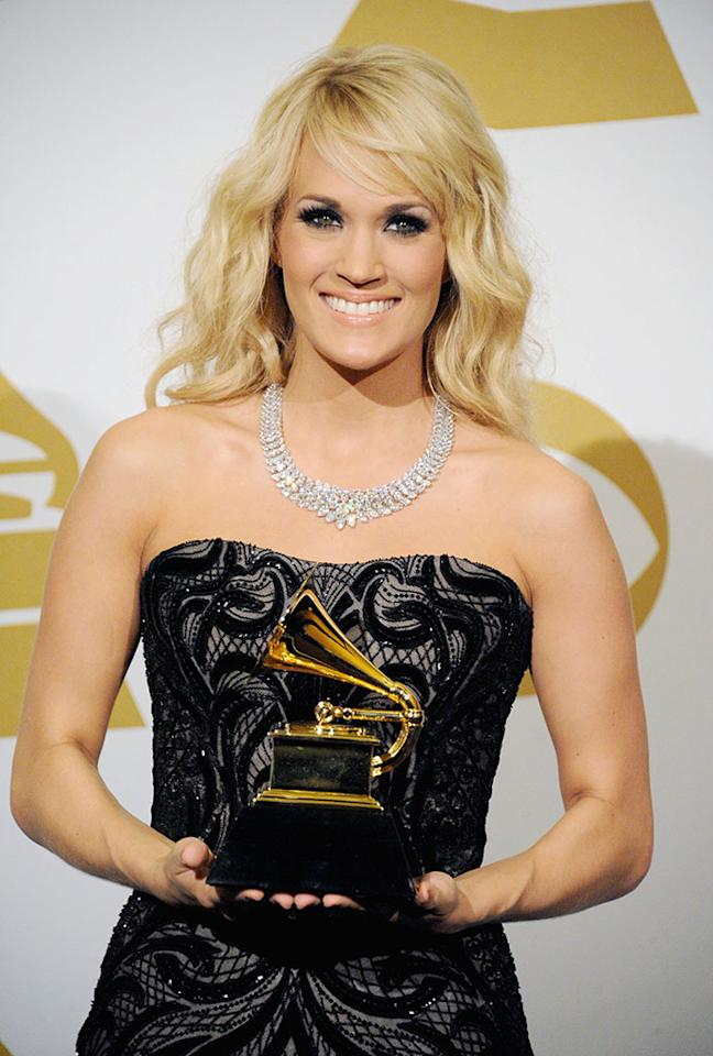Carrie Underwood poses in the press room during the 55th Annual GRAMMY Awards at STAPLES Center on February 10, 2013 in Los Angeles, California.