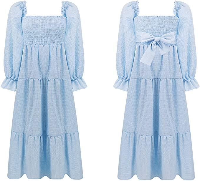 <p>From brunches to vineyard tours, the <span>R.Vivimos Women's Summer Cotton Plaid Puff Sleeves Bow Off-Shoulder Boho Midi Dress (Blue)</span> ($26) is perfect for summer adventures. It's a casual yet breathable dress that can be dressed up or down.</p>
