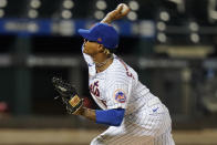 New York Mets' Marcus Stroman delivers a pitch during the first inning of against the Philadelphia Phillies in the second game of a baseball doubleheader Tuesday, April 13, 2021, in New York.(AP Photo/Frank Franklin II)