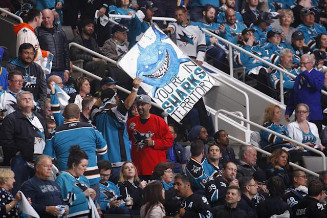 <p>Fans cheer on the San Jose Sharks during the game against the Edmonton Oilers in Game Four of the Western Conference First Round during the 2017 NHL Stanley Cup Playoffs at SAP Center on April 18, 2017 in San Jose, California. (Photo by Rocky W. Widner/NHL/Getty Images) </p>