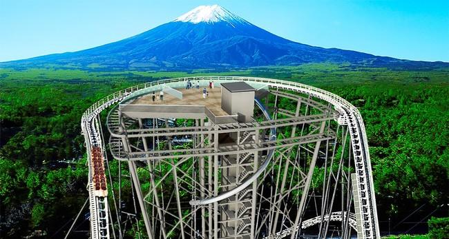 A viewing deck is being built that will sit at the top of the Fujiyama roller coaster at the Fuji-Q Highland amusement park in Yamanashi prefecture.  The giant roller coaster, which stands at 79 metres in height and is the eighth highest in the world, features a breathtaking view of Mount Fuji.