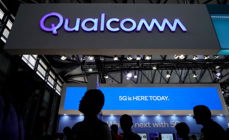 FILE PHOTO: A Qualcomm sign is pictured at Mobile World Congress (MWC) in Shanghai
