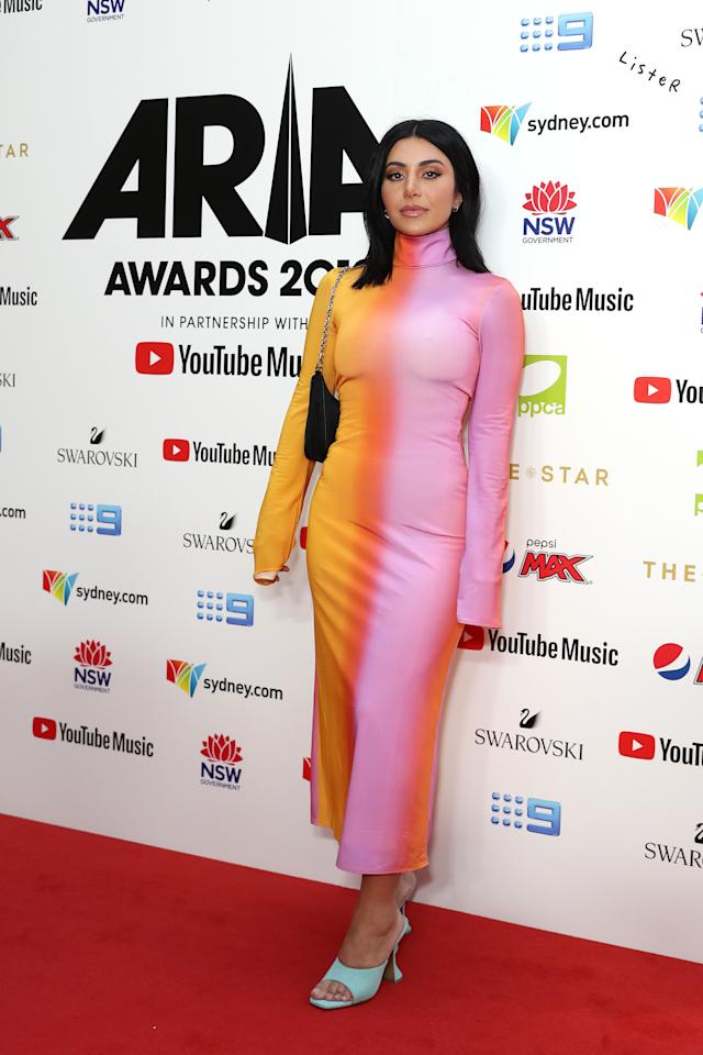Martha Kalifatidis worked a high-neck pink and orange ensemble at the 33rd Annual ARIA Awards 2019. Photo: Getty Images