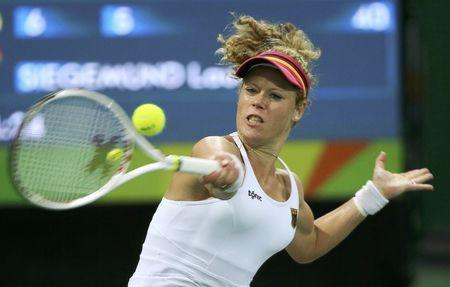 FILE PHOTO: 2016 Rio Olympics - Tennis - Preliminary - Women's Singles Second Round - Olympic Tennis Centre - Rio de Janeiro, Brazil - 08/08/2016. Laura Siegemund (GER) of Germany in action against Zhang Shuai (CHN) of China. REUTERS/Kevin Lamarque  Picture Supplied by Action Images