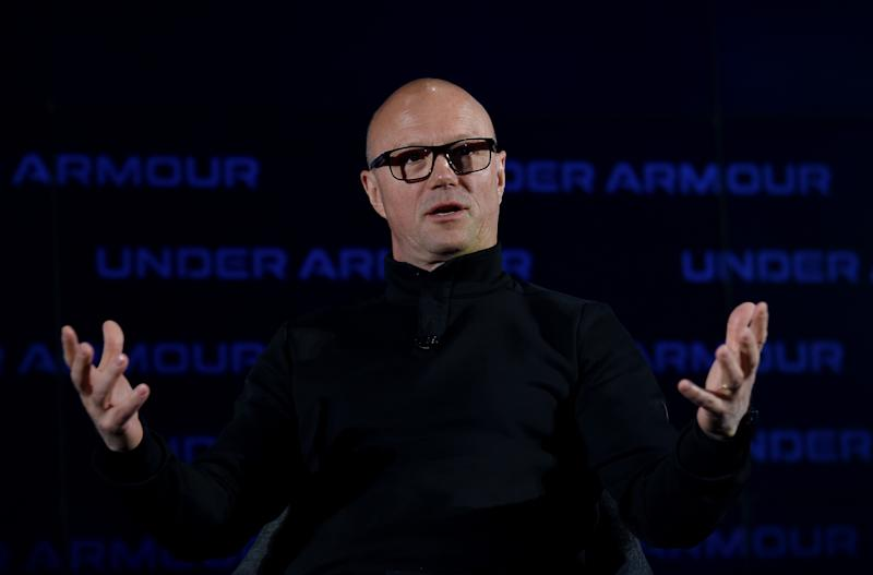 Patrik Frisk, recently appointed Chief Executive Officer Of Under Armour, speaks at the 2020 Under Armour Human Performance Summit on January 14, 2020 in Baltimore, Maryland. (Photo by OLIVIER DOULIERY / AFP) (Photo by OLIVIER DOULIERY/AFP via Getty Images)