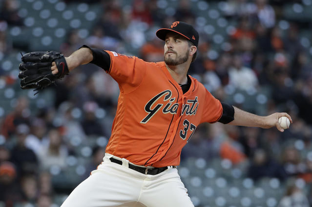 San Francisco Giants' pitcher Drew Pomeranz throws to an Arizona Diamondbacks batter during the first inning of a baseball game in San Francisco, Friday, May 24, 2019. (AP Photo/Jeff Chiu)