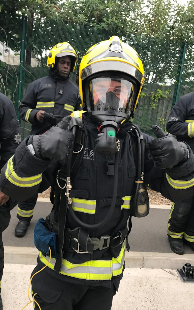 April Cachia during her firefighter training - Credit: Nick Edwards/ The Telegraph