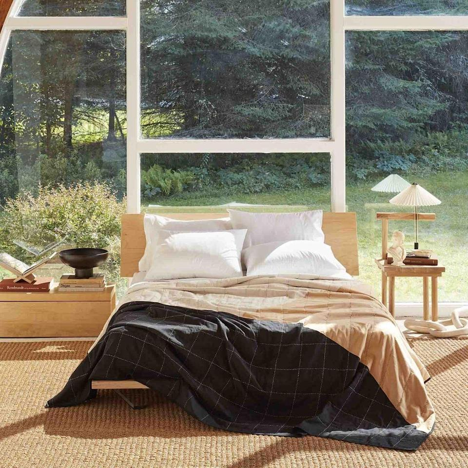 """<p>""""My bedroom is definitely ready for a fall refresh. I wanted to do more than just pick up some new throw pillows this time. I'm a big Brooklinen fan and am excited about its partnership with Anchal Project. This new <span>Brooklinen Anchal Patchwork Quilt</span> ($314-359, originally $349-$399) in particular is handmade by women in India using traditional Kantha stitching techniques. It's modern and moody at the same time - perfect for the season."""" - Rebecca Brown, senior contributing editor</p>"""
