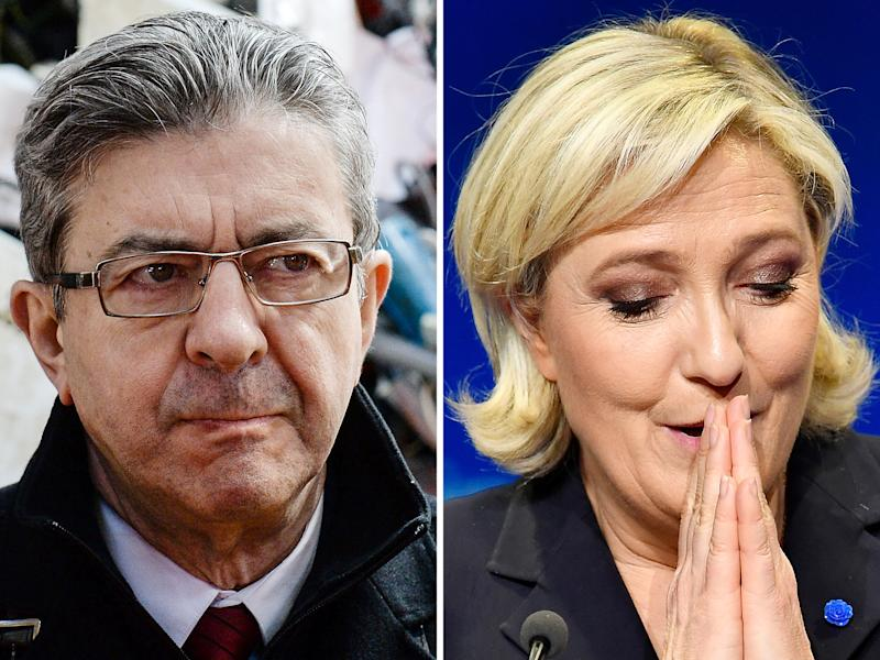 Le Pen has proposed a referendum on Frexit, while Mélenchon declared after Brexit: 'Europe, for the French, it must be changed or left': Getty