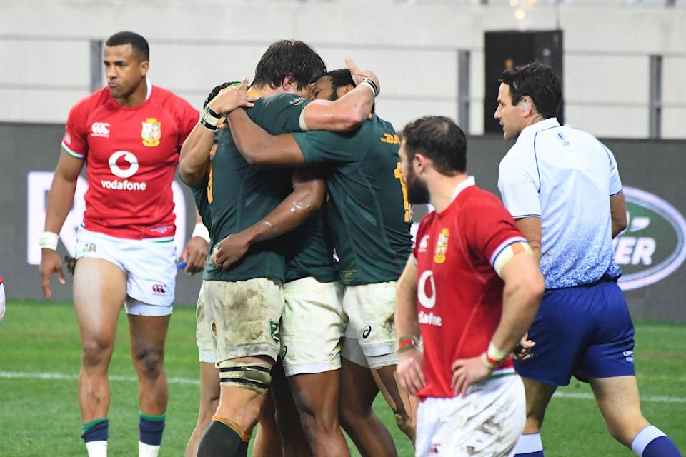 South Africa beat the British and Irish Lions 27-9 to tee up a huge series decider (AFP via Getty Images)